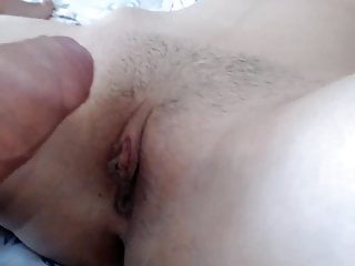 Cock and unshaven pussy close up