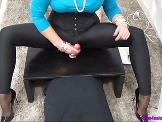 Femdom Spandex Mistress Handjob CFNM