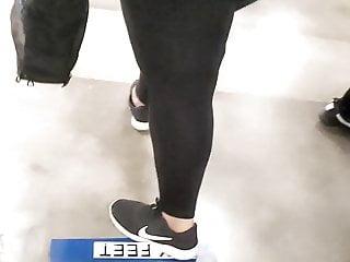 Thickk chubby dark skinned in spandex vpl