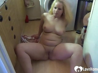 Blonde magnificence with good boobs performs with herself