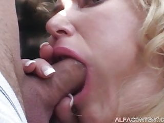 Blonde bitch slurps penis and finds fucked exhausting