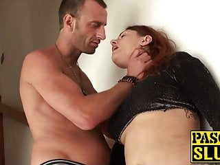Bitch with full grown knockers lets a dom pound her ass and choke her