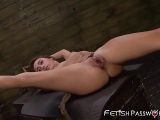 Petite and bound Marina Angel stretched by maledom cock