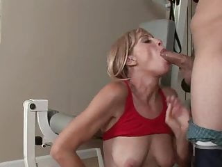 Small blonde old ass and vagina fucked in a gymnasium