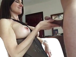 busty milf provides cock licking to man and gains cum