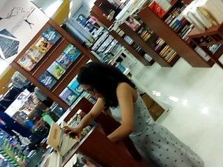 Desi young teen upskirt in bookstore