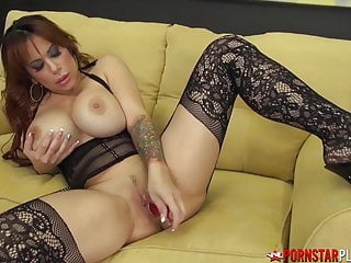 PORNSTARPLATINUM Busty sexy mom Alyssa Lynn Alone In Stockings