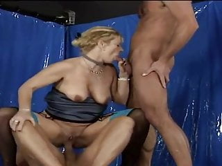 Fiery blonde old granny stockings gangbang DP
