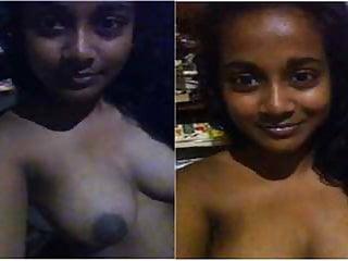 Beautiful desi roasting hot school girl bitch exhibiting her titties roasting hot