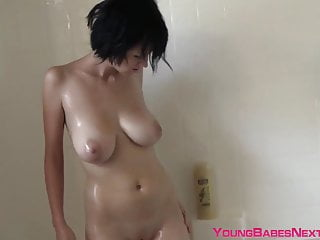 Teenager with mega big titties Velvetine loves washing her physique