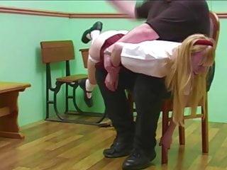 Grownup Schoolgirl Caned & Spanked in Uniform