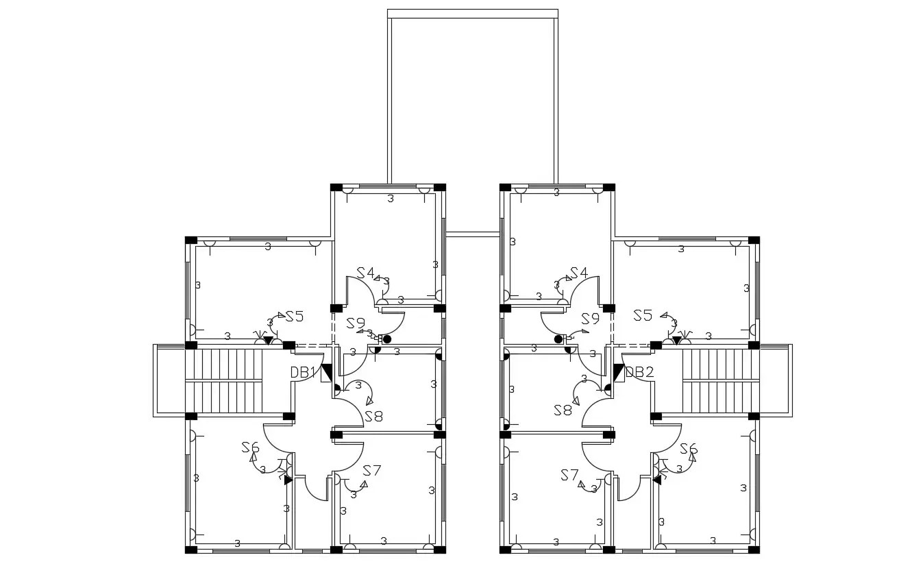 2d Cad Drawing Of House Electrical Layout Plan