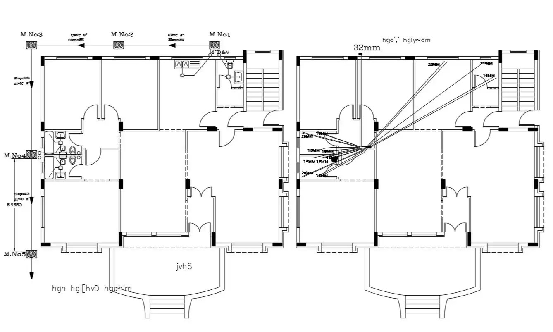 Autocad House Plumbing Layout Plan Design Dwg File
