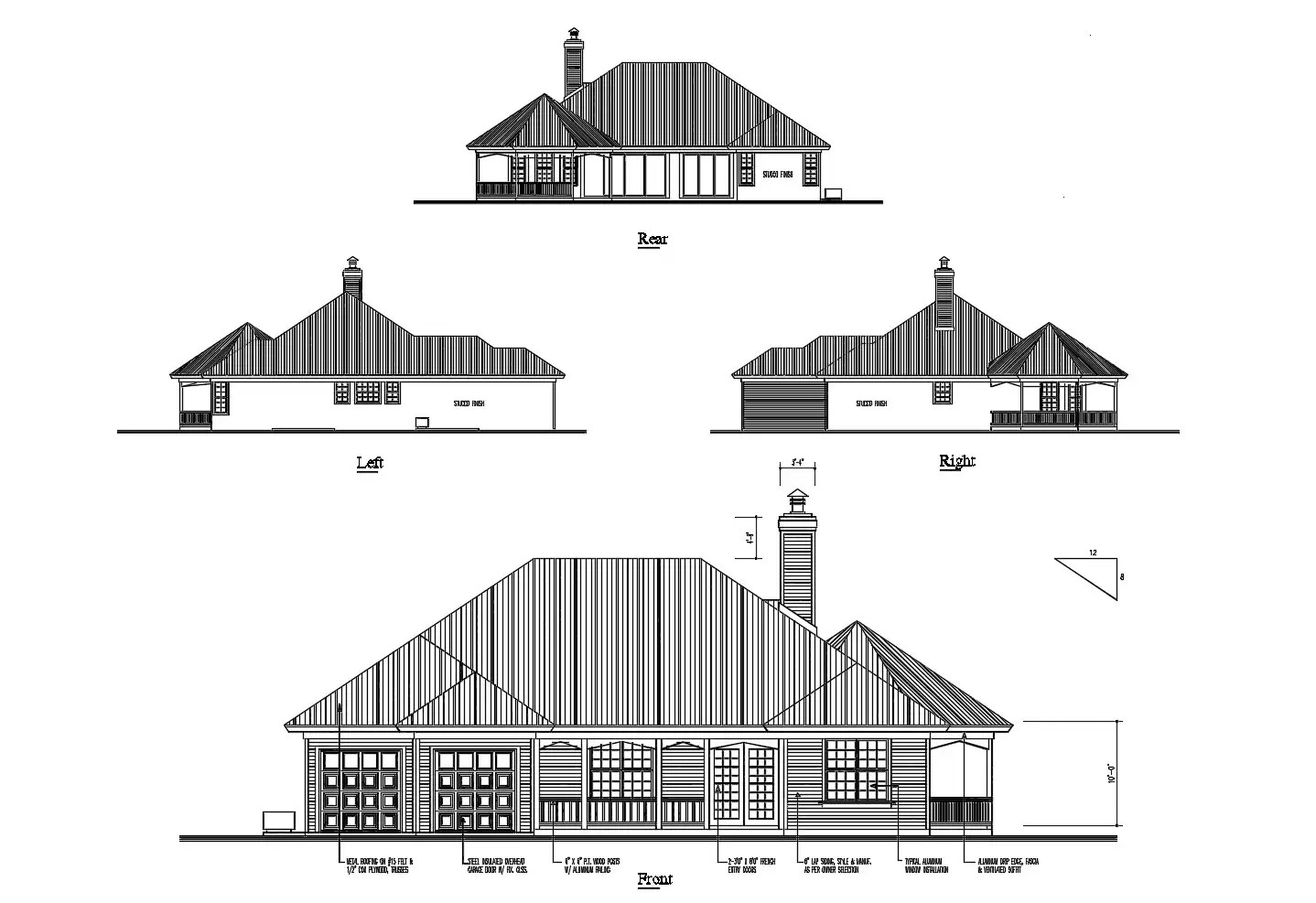 Elevation Drawing Of The Bungalow Design In Dwg File