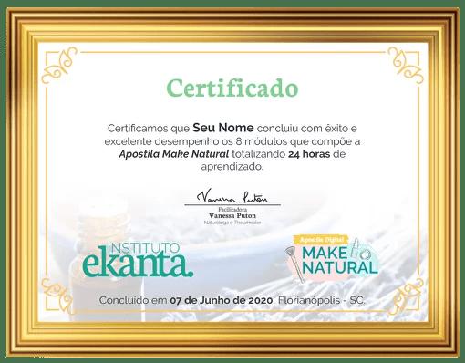 Certificado Apostila Make Natural