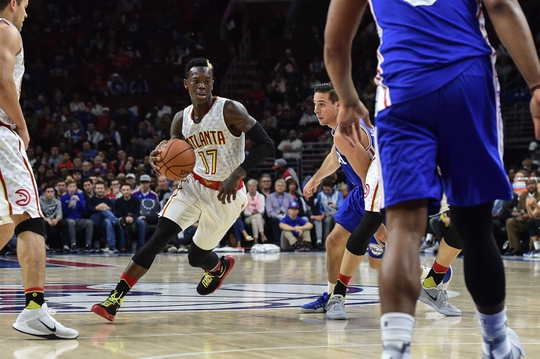 Oct 29, 2016; Philadelphia, PA, USA; Atlanta Hawks guard Dennis Schroder (17) dribbles the ball during the third quarter of the game against the Philadelphia 76ers at the Wells Fargo Center. The Atlanta Hawks won 104-72. Mandatory Credit: John Geliebter-USA TODAY Sports