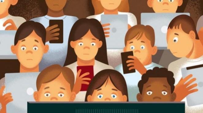 Ilustrasi anak bermain gadget.