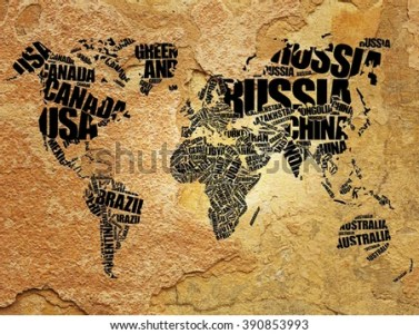World Map Typography Word Cloud Concept Stock Illustration 390853993     World Map in Typography word cloud concept  names of countries on old wall  texture background