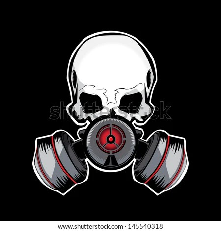 Skull Gas Mask Illustration - stock vector