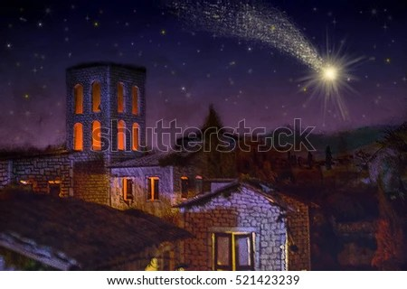 Bethlehem Town Night Christmas Star Comet Stock