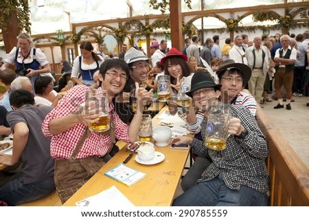 Oktoberfest Munich Germany 25092013 Japanese Visitors Stock Photo     Oktoberfest  Munich  Germany  25 09 2013  Japanese visitors to sit in the