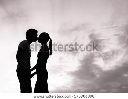 Romantic couple in love kissing. - stock photo