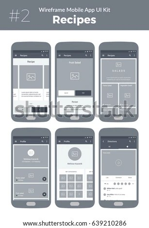 Wireframe UI Kit Mobile Phone Mobile Stock Vector 639210286     Wireframe UI kit for mobile phone  Mobile App Cooking  Recipes  categories   profile
