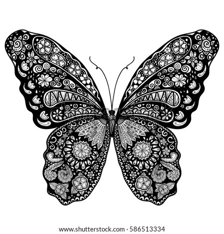 Abstract Doodle Vector Outline Decorative Butterfly Stock