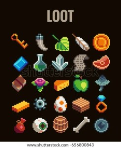 Pixel Art Loot Set Video Games Stock Vector 656800843   Shutterstock Pixel art loot set for video games   Retro style 8 bit icons