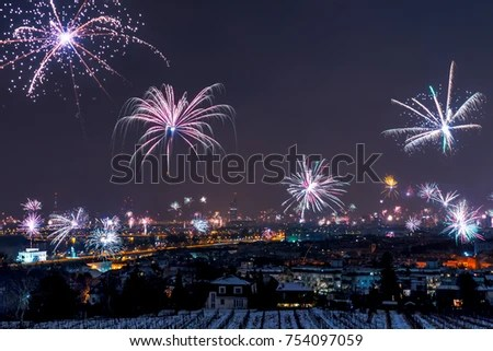 New Years Eve Fireworks Above Vienna Stock Photo  Royalty Free     New Years Eve fireworks above Vienna skyline
