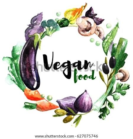 Vegan Watercolor Logo Lettering Vegan Food Stock Vector