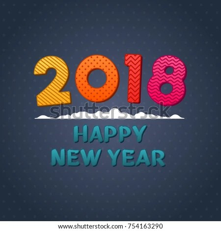 2018 Happy New Year Color Text Stock Vector  Royalty Free  754163290     2018 happy new year color text on dark blue background