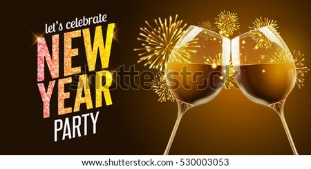 New Year Eve 2017 Holiday Illustration Stock Vector  Royalty Free     New Year eve 2017  Holiday illustration of two wine glasses  Drink luxury  celebration of