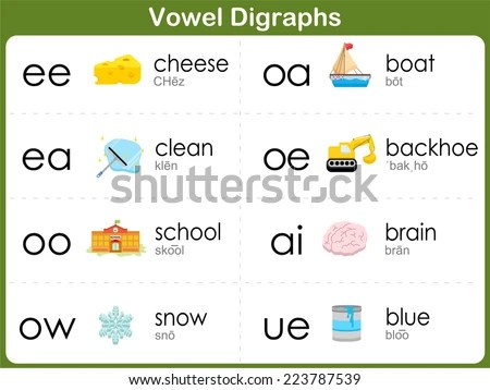 Vowel Digraphs Worksheet Kids Stock Vector