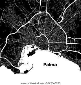 Palma De Mallorca Urban Vector Map Stock Photo  Photo  Vector     Palma de Mallorca urban vector map  White Highways and City Streets on  Black Background