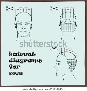 Hairdressing Haircut Diagram Men Stock Vector 283300460