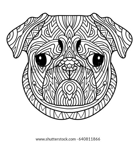Coloring Book Adults Dog Book Head Stock Vector 640811866