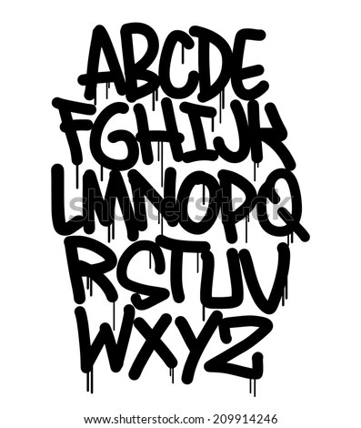 Graffiti Font Stock Vector 209914246 Shutterstock