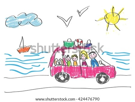 Vector Drawing Made By Child Happy Stock Vector 424476790 ...