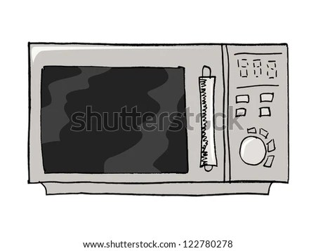 Hand drawn, vector, sketch illustration of microwave oven - stock vector