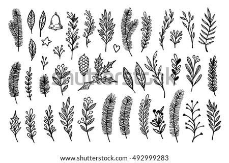 Hand Drawn Vector Vintage Elements Laurel Stock Vector