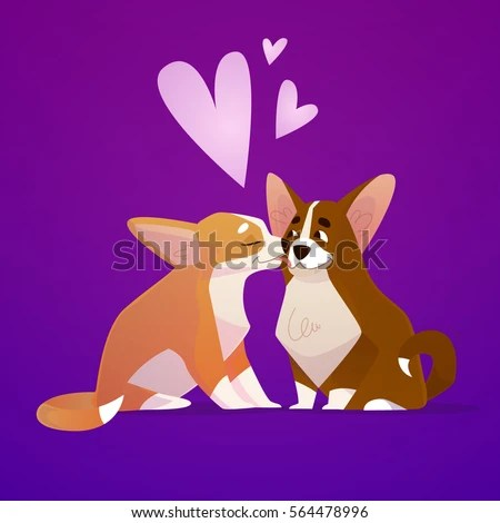 Download Couple Kissing Corgi Dogs Puppies Cute Stock Vector ...