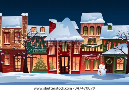 Winter Landscapechristmas Background Fairy Tale Houses