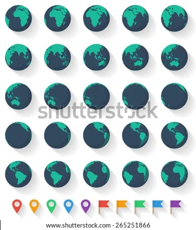 Vector Earth Set Twenty Five Earth Stock Vector 265251866 ...