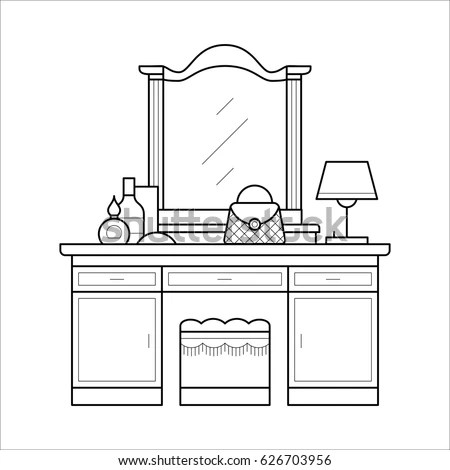 Dressing Table Thin Line Table Mirror Stock Vector