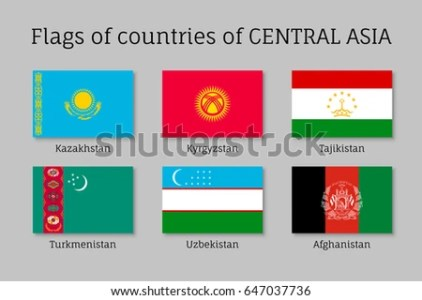 Set Flags Central Asian Countries Tajikistan Stock Illustration     Set of flags of Central Asian countries  Tajikistan and Kazakhstan   Kyrgyzstan  Turkmenistan