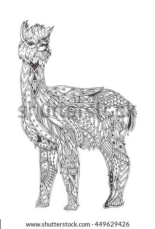 Handdrawn Alpaca Ethnic Floral Doodle Pattern Stock Vector