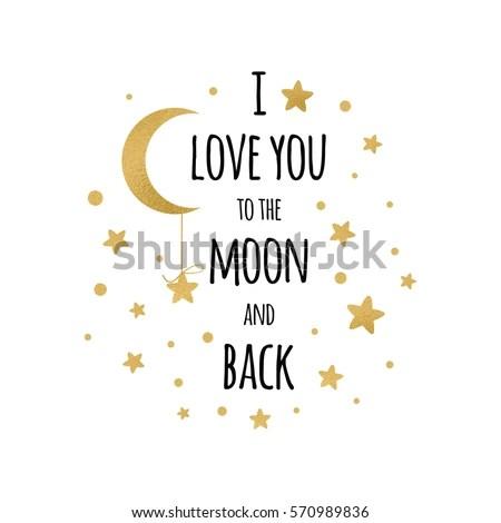 Download Love You Moon Back Handwritten Inspirational Stock Vector ...