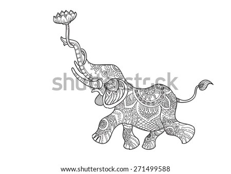 A Hand Drawn Picture Of Elephant Holding Lotus Flowers In