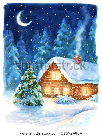 Watercolor Winter Landscape Stock Images Royalty Free